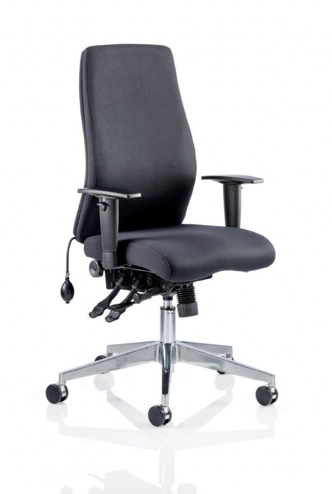 Onyx Posture Contoured Foam Task Chair Pump up Lumbar HA Arms Choice of Black or Blue Fabric